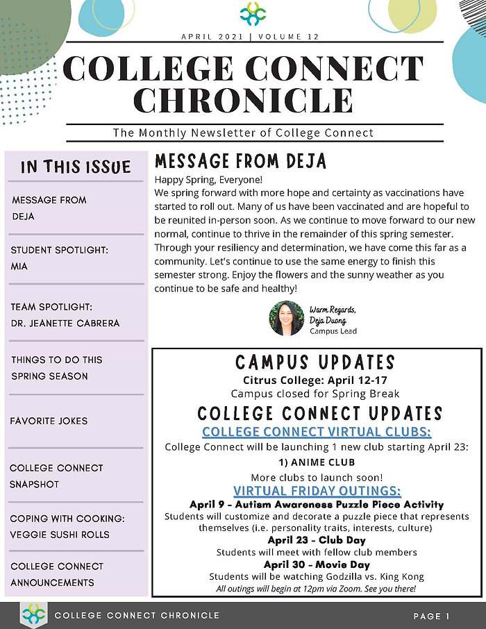 April 2021-  College Connect Newsletter