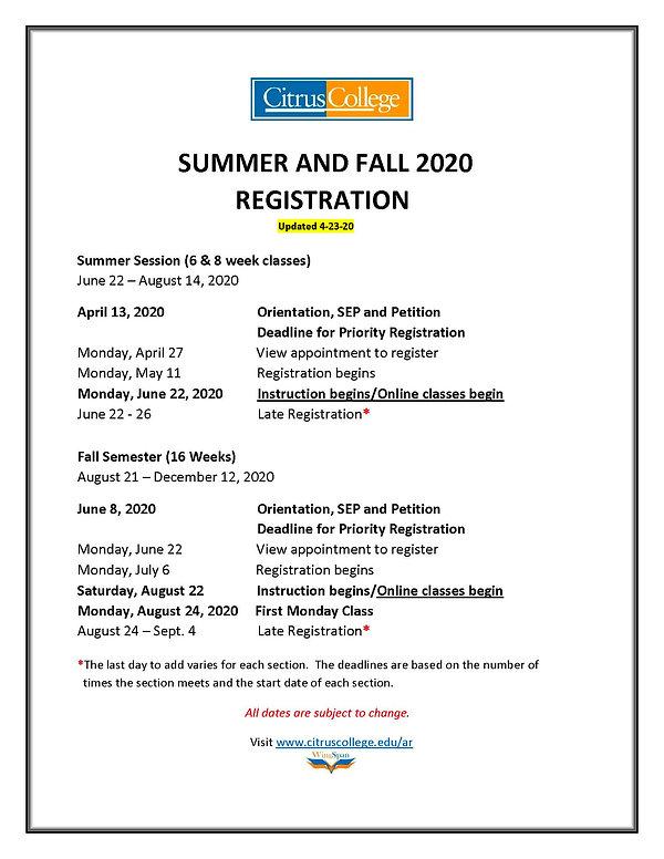 REGISTRATION TIMELINE SU & FALL - UPDATE