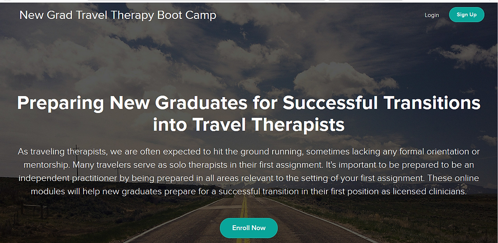 Want to start traveling as a new grad, but didn't learn about it in school? NewGradTravelTherapy now offers FREE eCourses to get you started. Whether you are a current student or recent graduate, these courses are for YOU! only at www.newgradtraveltherapy.com