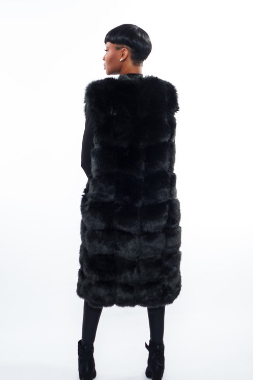 Lavish Black Faux Fur Vest
