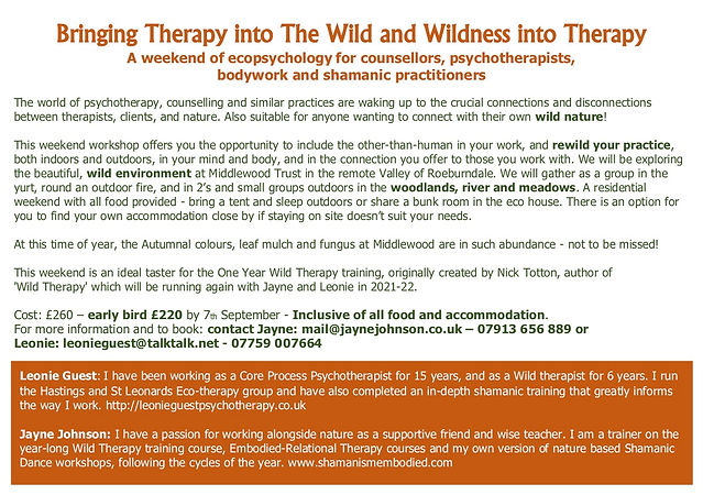 Wild Therapy weekend workshop flyer back