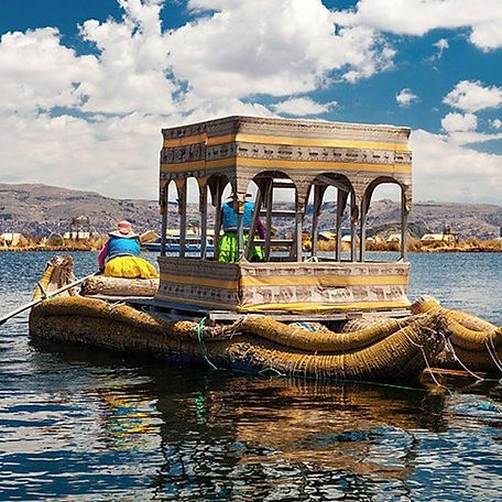Lago Titicaca , lindo! O barco de totora