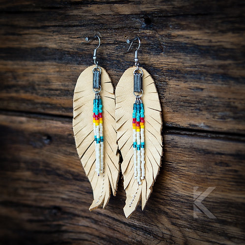 Buckskin Feather Earrings