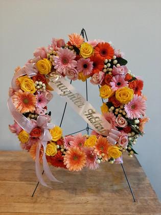 Pink Gerber Standing Wreath