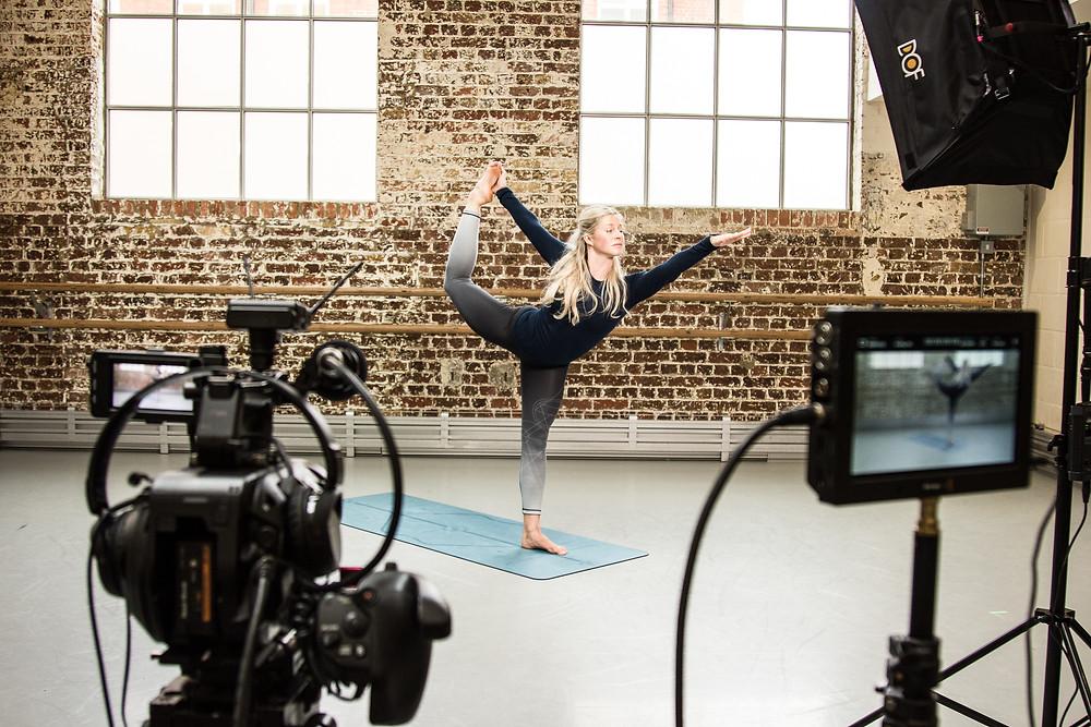 Yoga teacher practicing