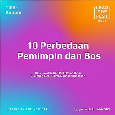 10 Perbedaan Pemimpin dan Bos