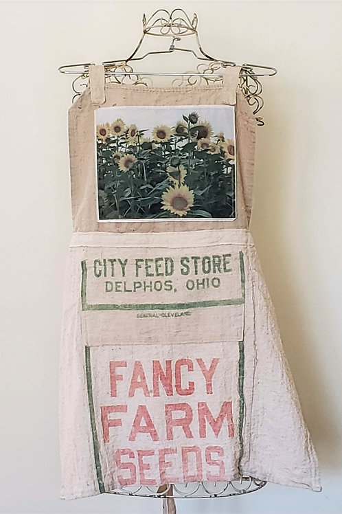 Feedsack Apron Sunflowers
