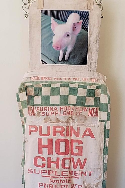 Feed Sack Apron Pig