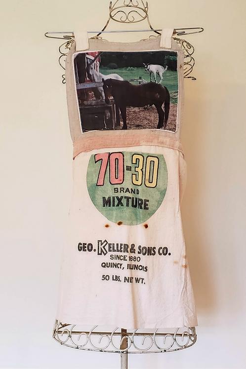 Feed Sack Apron Goat, Pony