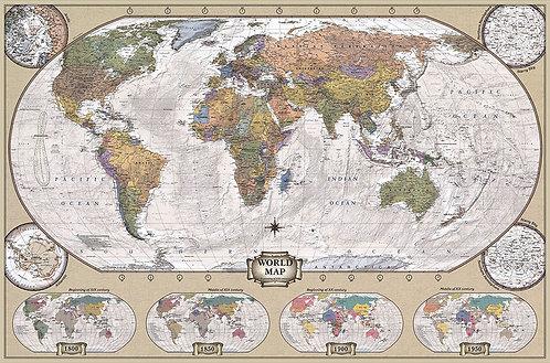 Карта Мира Политико-Историческая на английском языке