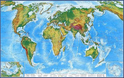 Карта Мира Физическая, вариант 2