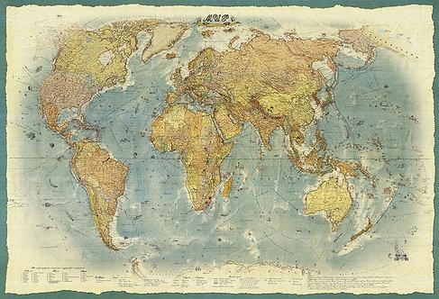 Карта Мира в ретро стиле