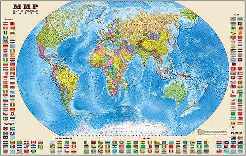 Карта Мира Политическая (с флагами государств)