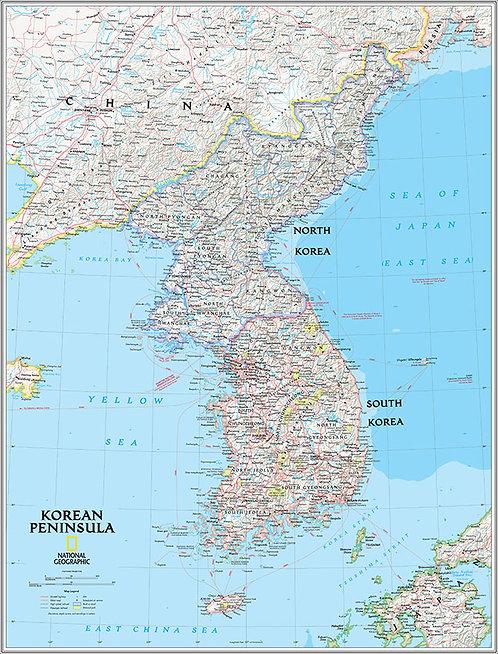 Карта Северной и Южной Кореи на английском языке