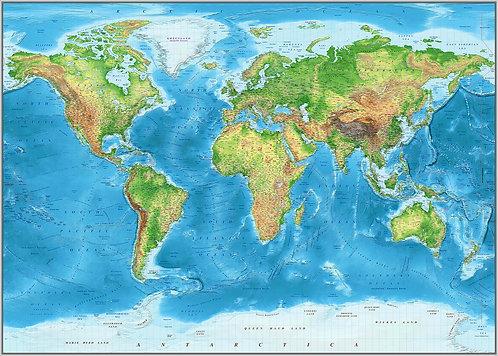 Карта Мира Физическая на английском языке