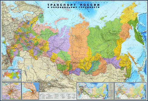 Карта Транспорта России и сопредельных государств