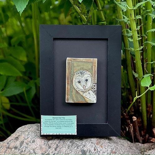 Framed barn owl tile