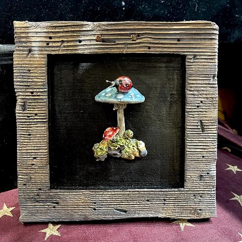 Woodland Toadstool and Ladybug Framed