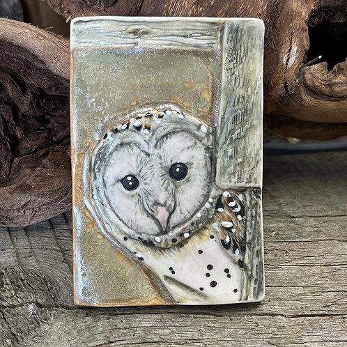 Barn Owl in Barn Window Wall Tile