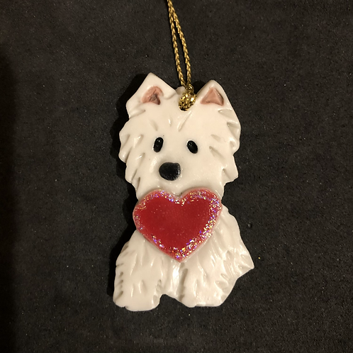 Westie Dog Ornament with Heart