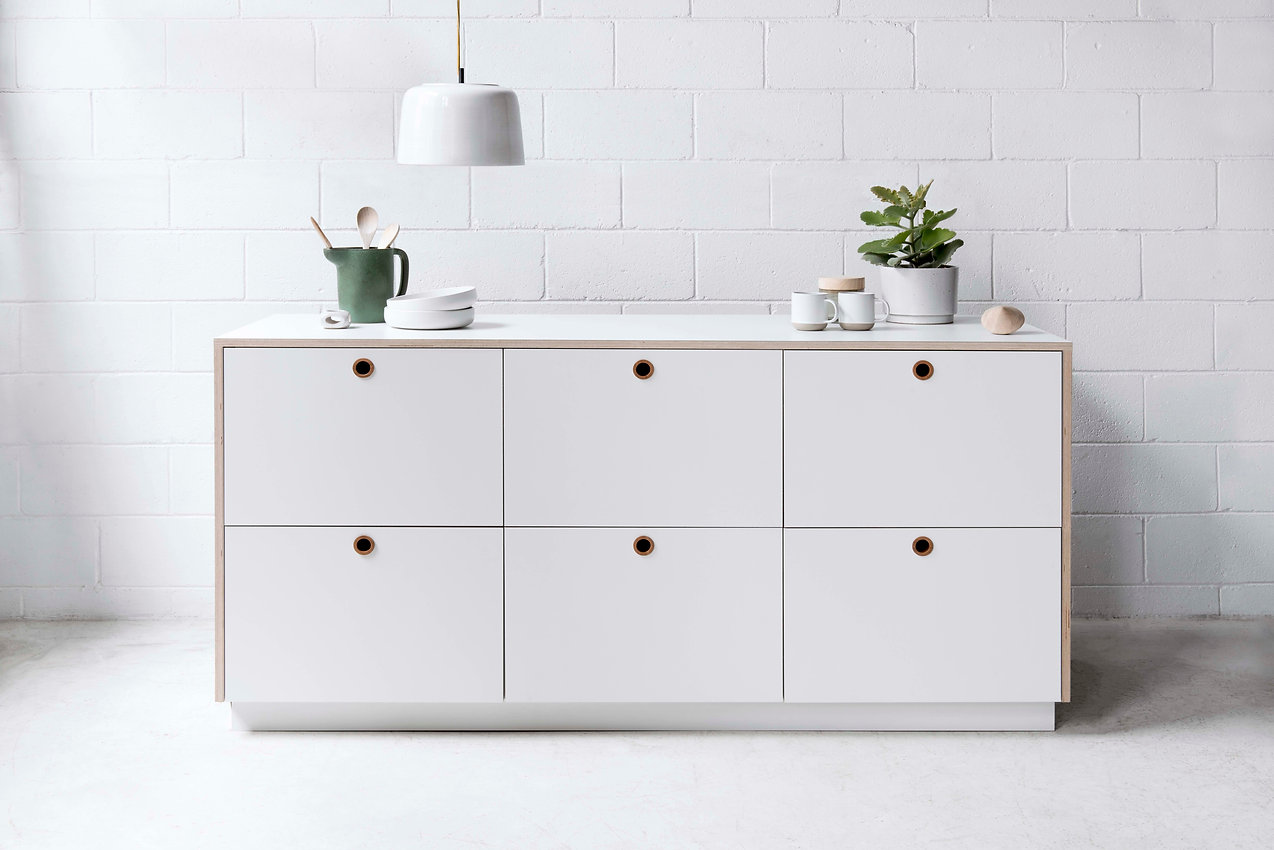 Arkie white Laminated Plywood Kitchen Fronts with Hole handles from IN-TERIA