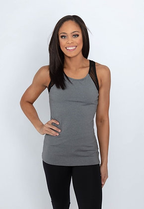 84314T Scoop neck color block racer back fitted tank