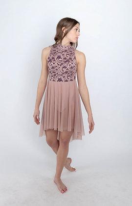 99323 Mock neck high low dress