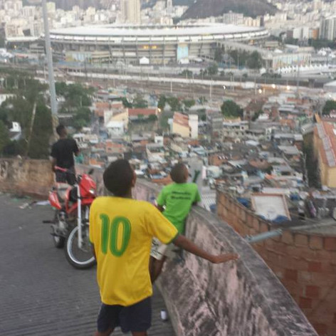 View over Mangueira, Rio de Janeiro, and one  of the worlds most famous soccer stadiums Maracana