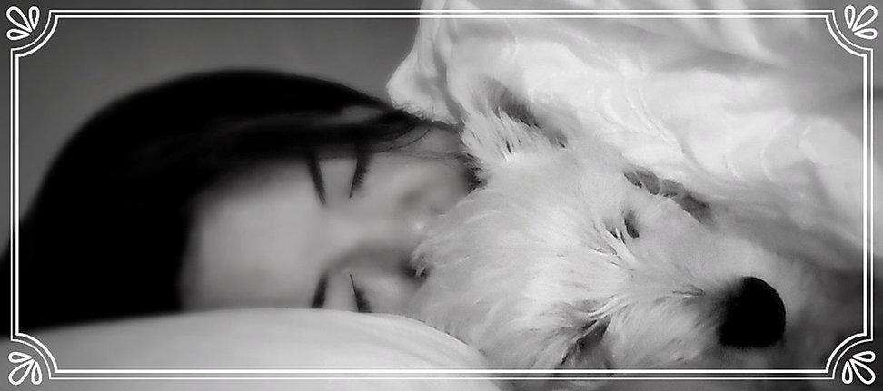 Mika and Munchkin girl and dog sleeping