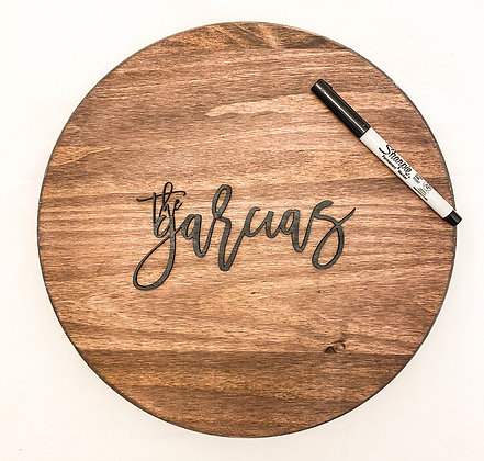 Wood Circle Guestbook with Names