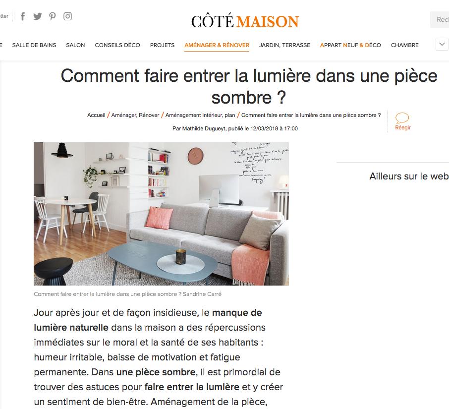 Interview pour Côté Maison - 12/03/18