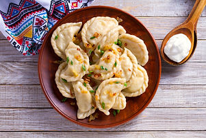 Dumplings, filled with cabbage. Varenyky