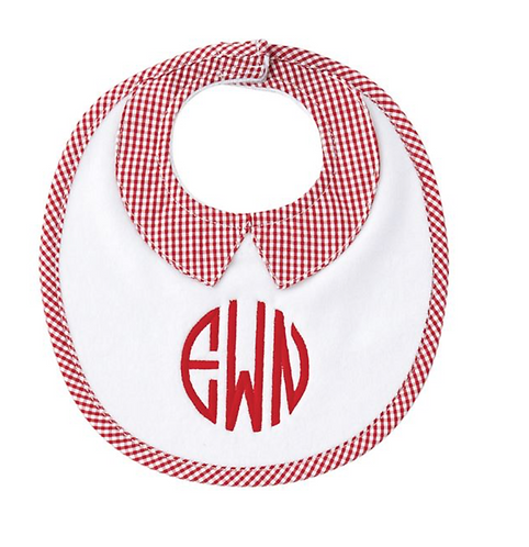 Mud Pie Red Gingham Bib