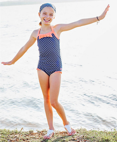 Navy Polka Dot One Piece Swim