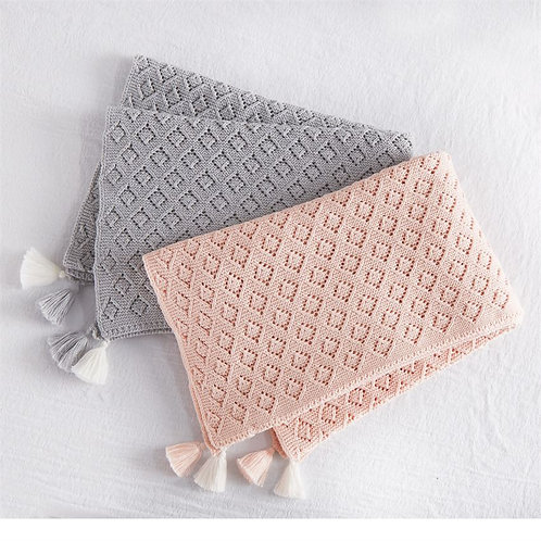 Mud Pie Gray Knit  Tassel Blanket