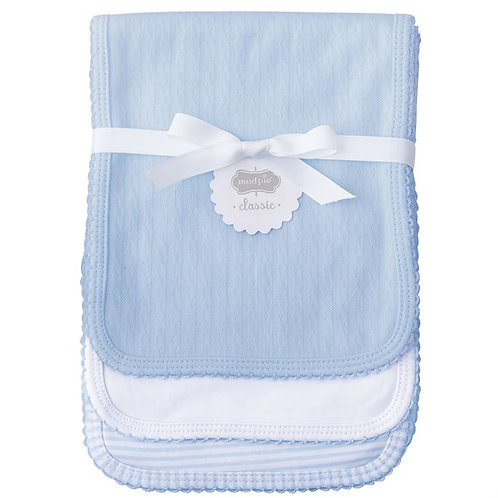 Mud Pie Blue Pointelle Baby Burp Cloth Set