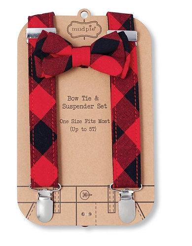 Mud Pie Buffalo Plaid Bow Tie & Suspenders