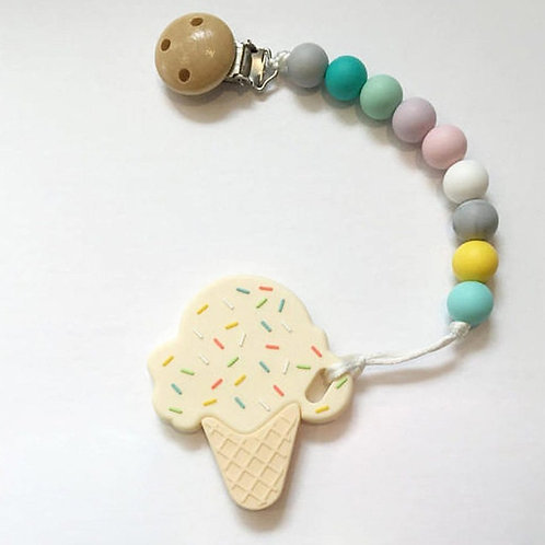 Ice Cream  Silicone Teether & Clip