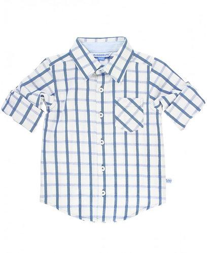Rugged Butts Boys Blue Windowpane Button Down Shirt