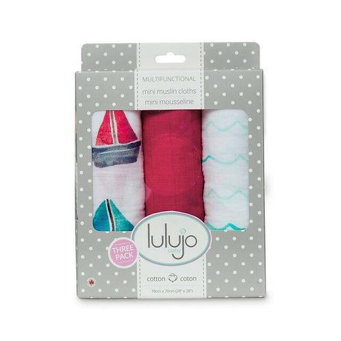 3 Piece Sailboat Muslin Blanket Set