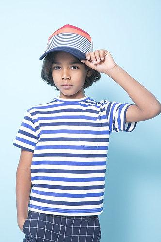 TooByDoo Boys Blue Striped Pocket Tee