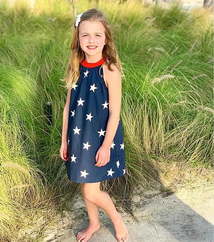 Petit Peony Navy Stars Trapeze Dress