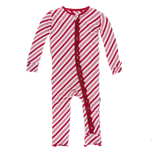 Kickee Pants Candy Cane Ruffle Zipper Coverall