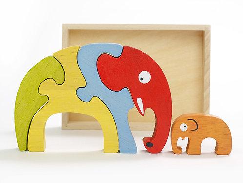 Elephant Family Wooden Puzzle