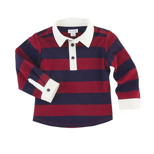 RED & NAVY STRIPED RUGBY SHIRT