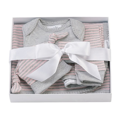 Mud Pie Pink &Grey Striped Boxed Gift Set