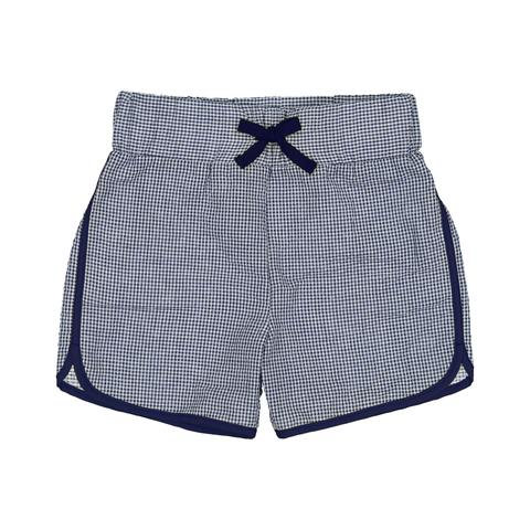 Petit Peony Navy Gingham Rugby Short