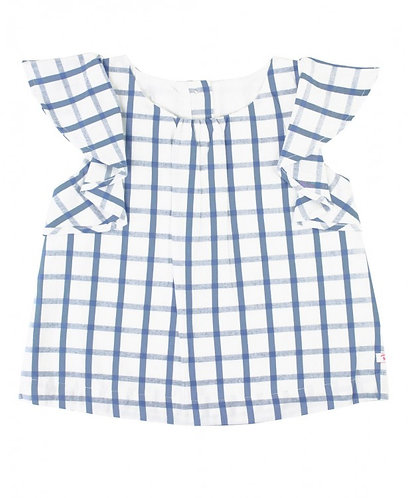 Ruffle Butts Windowpane Waterfall Sleeve Top