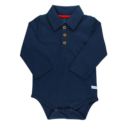 Rugged Butts Navy Long Sleeve Polo Onesie