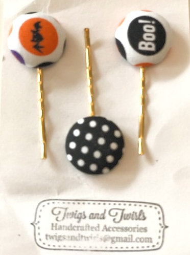 Halloween Button Hair Clips - Set of3